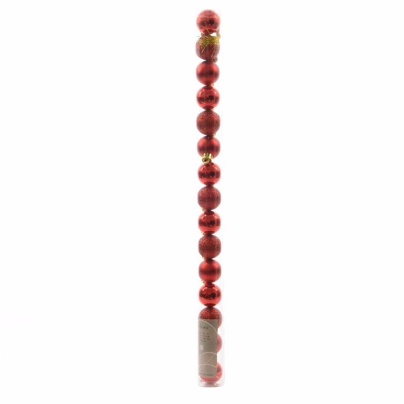 Image of 15-delige kerstballen set rood